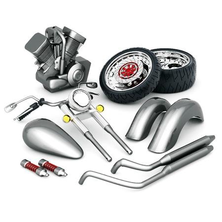 Motorrad-Teile auf einem isolierten weißen Hintergrund Standard-Bild - 21926762