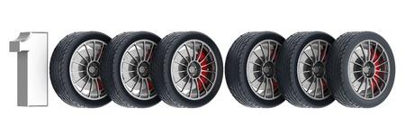 Black sports wheel on a white background Stock Photo - 21926767