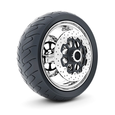 Black sports wheel on a white background Stock Photo