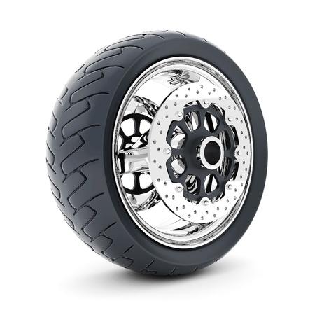 tire treads: Black sports wheel on a white background Stock Photo