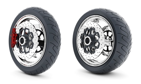 Black sports wheel on a white background Standard-Bild