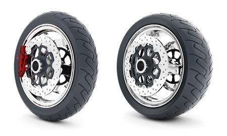 Black sports wheel on a white background Stock Photo