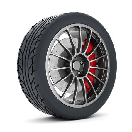 Black sports wheel on a white background Stock Photo - 21926773
