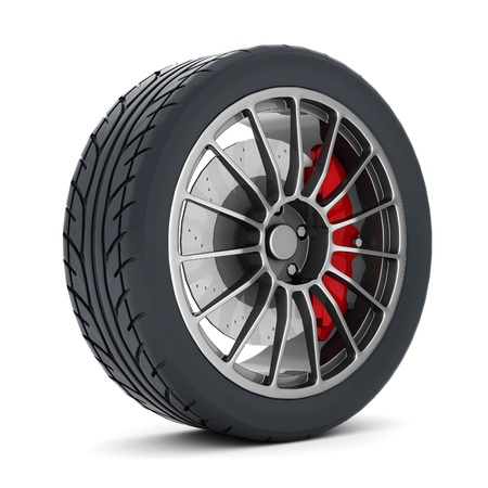 Black sports wheel on a white background Stock Photo - 21926773