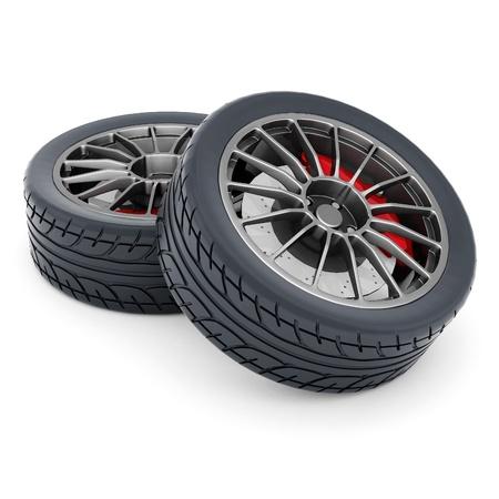 Black sports wheel on a white background Stock Photo - 21926775