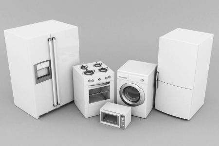 picture of household appliances on a gray background