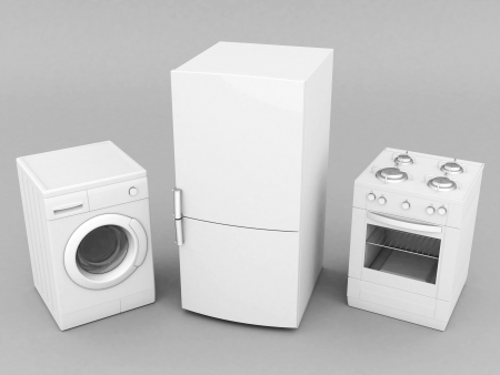 picture of household appliances on a gray background Stock Photo - 21926814