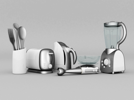 liquidiser: picture of household appliances on a gray background