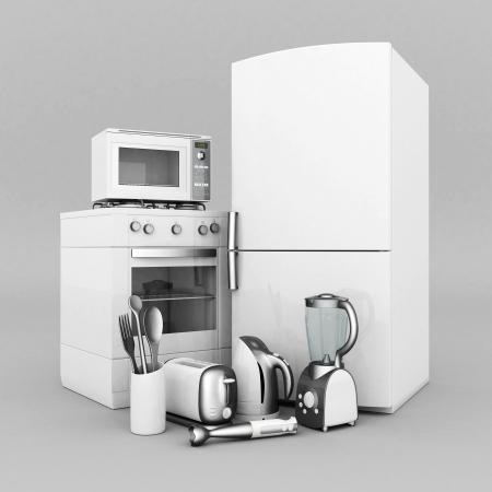 Bild von Haushaltsgeräten auf einem grauen Hintergrund Standard-Bild - 21926813