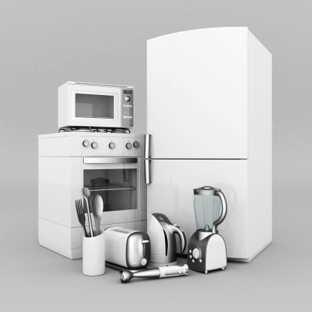 picture of household appliances on a gray background Stock Photo - 21926813
