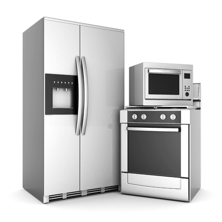 picture of household appliances on a white background Stock Photo