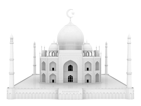 beautiful white mosque on the isolated background photo