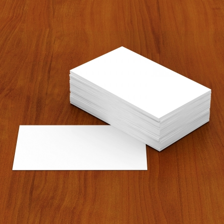 Business cards blank mockup - template - wooden background