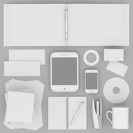 Corporate identity template on the gray background Stock Photo