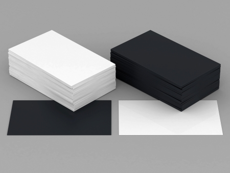 stack of business cards: Business cards blank mockup - template - gray background