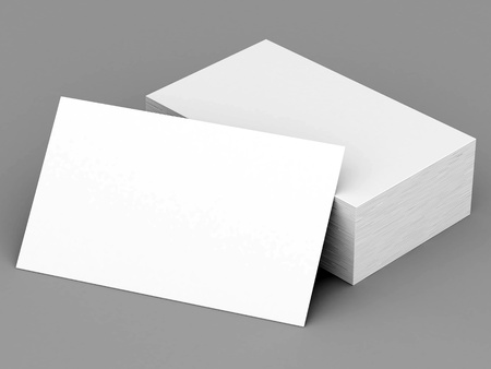 stack of documents: Business cards blank mockup - template - gray background