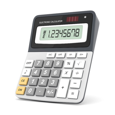 Modern office calculator on a white background photo