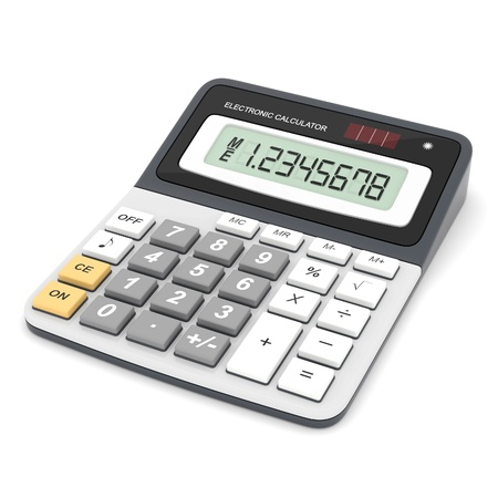 reckon: Modern office calculator on a white background Stock Photo