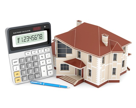 determine: house, calculator and pen on a white background