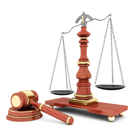 magistrate: beautiful image of judicial attributes on a white background