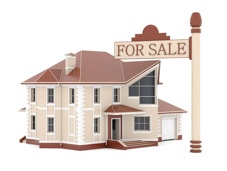 house for sale on white background. 3d rendered image photo