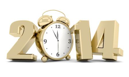 Frohes neues Jahr 2014 3d Illustrationen auf weißem Hintergrund