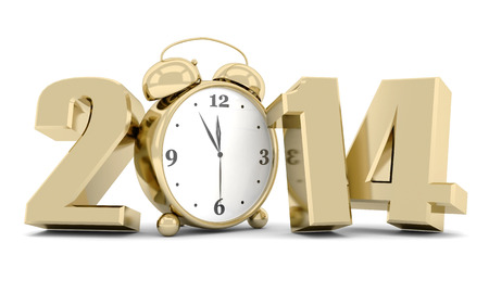 happy new year 2014 Illustrations 3d on a white background Stock Photo