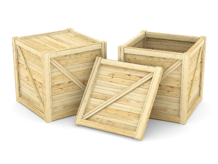 wooden crate: wooden crate isolated on white background