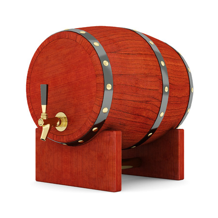 root beer: image of the old wine barrels on a white background Stock Photo