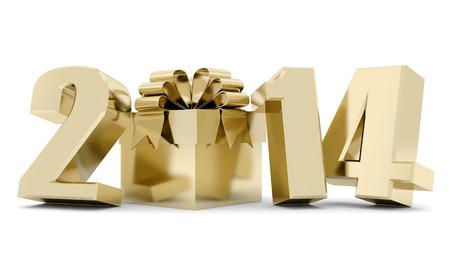 Frohes neues Jahr 2014 3d Illustrationen Standard-Bild - 24065454