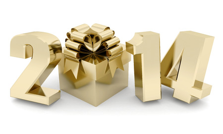 happy new year 2014 Illustrations 3d on a white background illustration