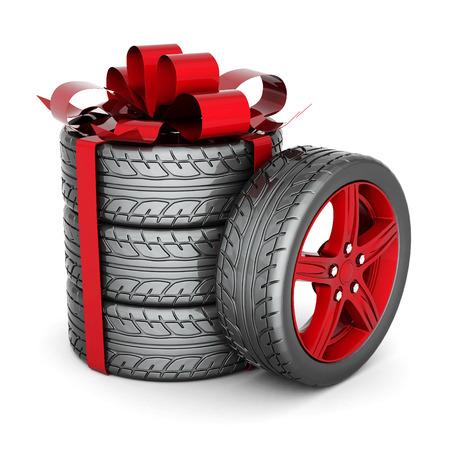 tire shop: Black sports wheel on a white background Stock Photo