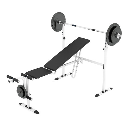 weighted: Barbell bench on a white background