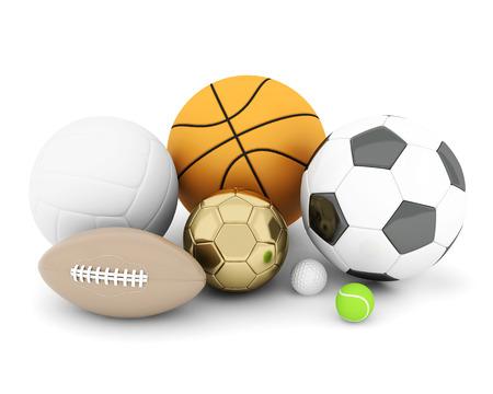 sport ballen geà ¯ soleerd op witte achtergrond Stockfoto