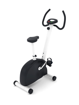 hometrainer: exercise bike isolated on a white background Stock Photo