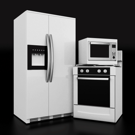 gas laundry: picture of household appliances on a black background Stock Photo