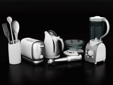 percolator: picture of household appliances on a black background Stock Photo