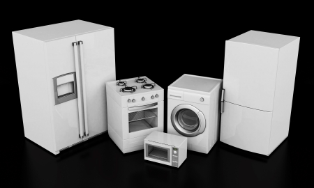 steam cooker: picture of household appliances on a black background Stock Photo