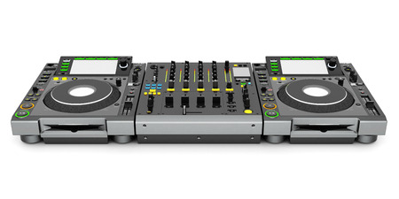 auriculares dj: Mezclador de DJ de música aislado en fondo blanco