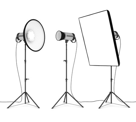 studio flash isolated on white background Standard-Bild