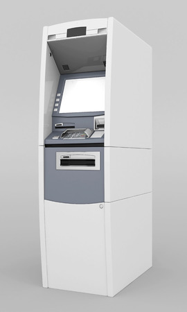 bancomat: image of the new ATM on gray background Stock Photo