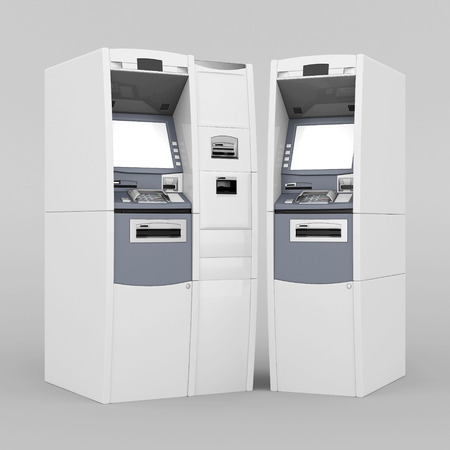 image of the new ATM on gray background photo
