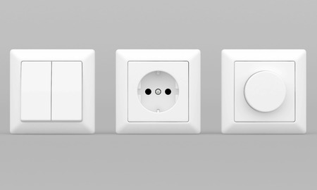 switches: switches and sockets on a gray background