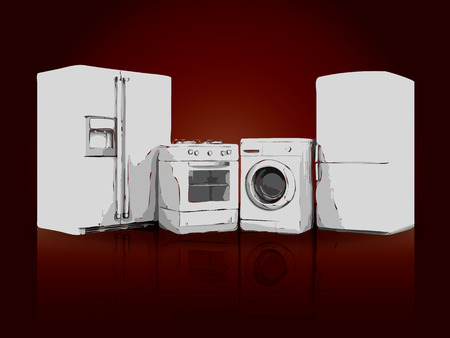 kitchen appliances: picture of household appliances on a ruby background