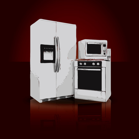 gas laundry: picture of household appliances on a ruby background