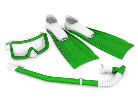 flippers: aletas, máscara y snorkel sobre un fondo blanco