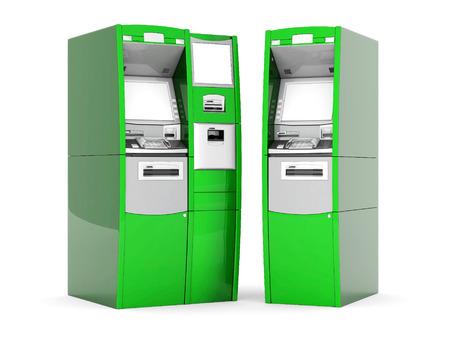 bancomat: image of the new ATM on white background Stock Photo
