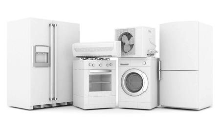 beeld van huishoudelijke apparaten op een witte achtergrond Stockfoto