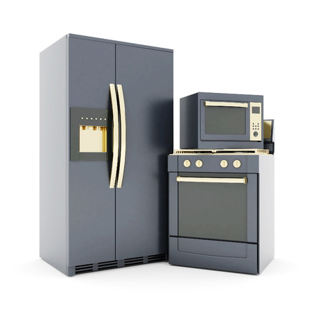 steam cooker: picture of household appliances on a white background Stock Photo