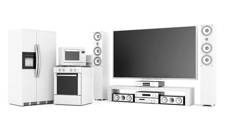 picture of household appliances on a white background photo